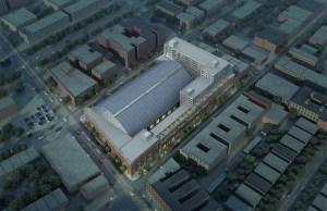 Aerial rendering of Bedford Union Armory (Rendering: BFC Partners).