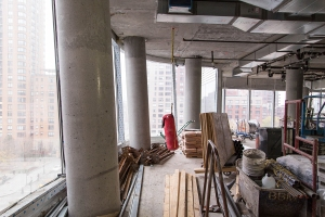 The raw restaurant space still under construction at 50 West Street (Photo: Kaitlyn Flannagan/ For Commercial Observer).