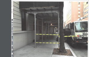 Scaffolding at 432 West 58th Street (Photo: Court documents).