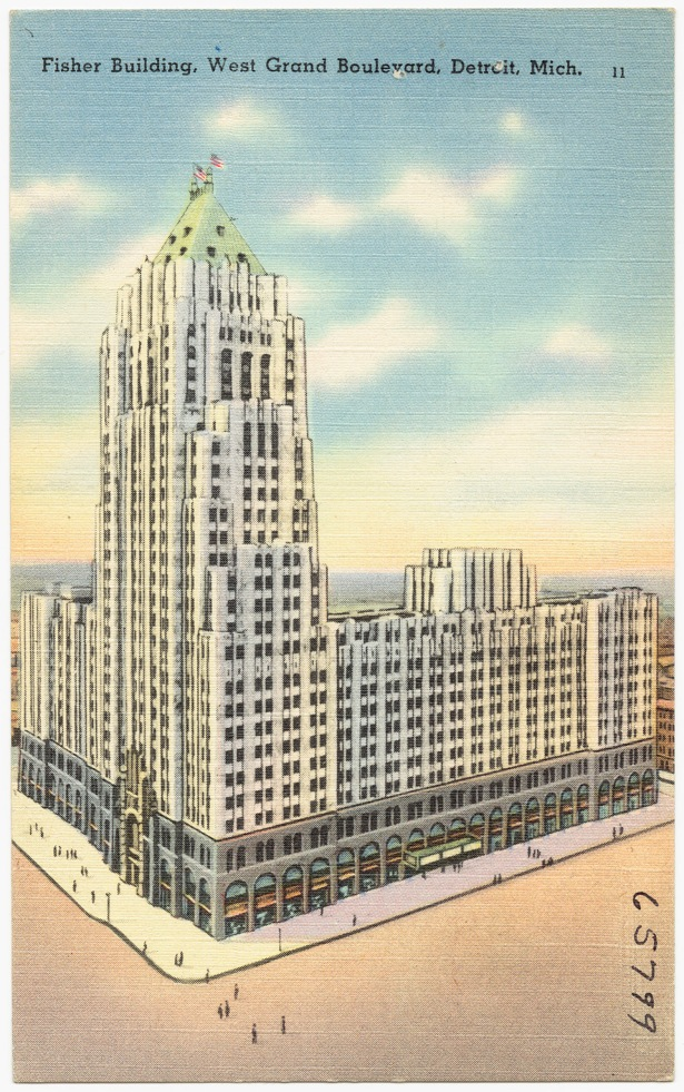 An old postcard featuring a drawing of the Fisher Building (Boston Public Library/flickr).