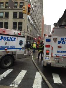 Police and firefighters stormed Lower Manhattan.