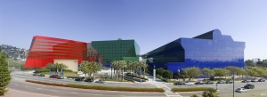 Pacific Design Center's Red, Blue and Green Buildings.