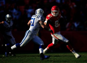 Steve Maneri playing in red with the Kansas City Chiefs (Photo by Jamie Squire/Getty Images)