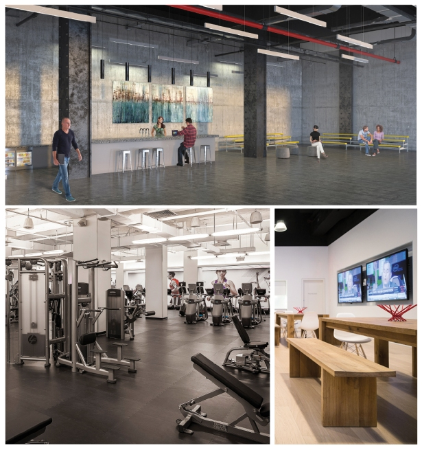 AMENITY NOW: Equity Office's lobby 114 West 41st Street (top) is slated to become a common space, 285 Madison Avenue (right) has tenant lounges and the Empire State Building (left) features a fitness center.