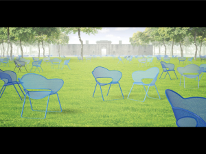 300 custom-made chairs will be brought to The Battery's oval lawn. (Rendering: The Battery Conservancy).