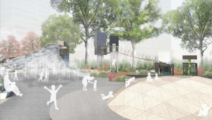 Treehouses in the park (Rendering: The Battery Conservancy).