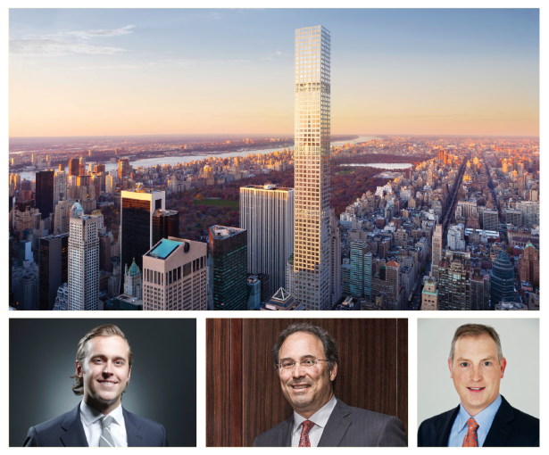 THE SKY IS NOT THE LIMIT: Buildings like 432 Park Avenue (top) being built by CIM Group and Harry Macklowe have not received any construction loans from domestic banks; JLL's Dustin Stolly (bottom left) thinks nontraditional lenders might step in; Extell's Gary Barnett (bottom center) has been assuring investors; M&T Bank's Peter D'Arcy (bottom right) thinks there's weakness in the market.