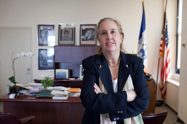 Manhattan Borough President Gale Brewer in her office at 1 Centre Street (Photo Courtesy: Aaron Adler).