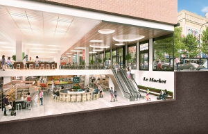 The developer is in early discussions with grocer tenants for a potential urban market (Rendering: TF Cornerstone).