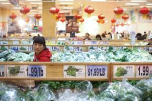 The vegetable aisle in the Jmart supermarket in Flushing. (Photo: Aaron Adler/ For Commercial Observer).