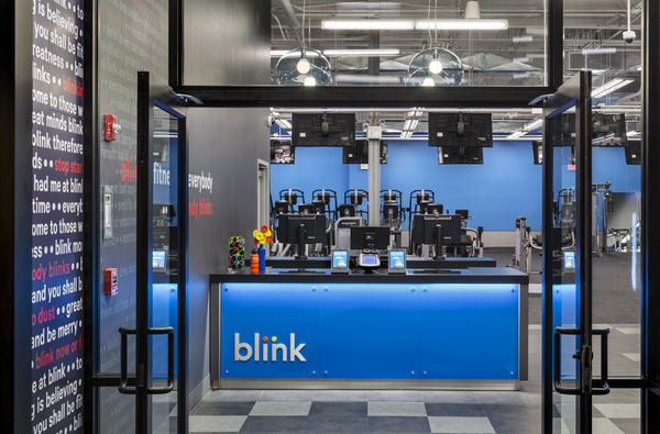 Blink Fitness interior with signage