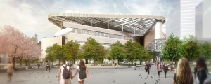 A rendering of the he Bloomberg Center from the plaza (Rendering: Morphosis).