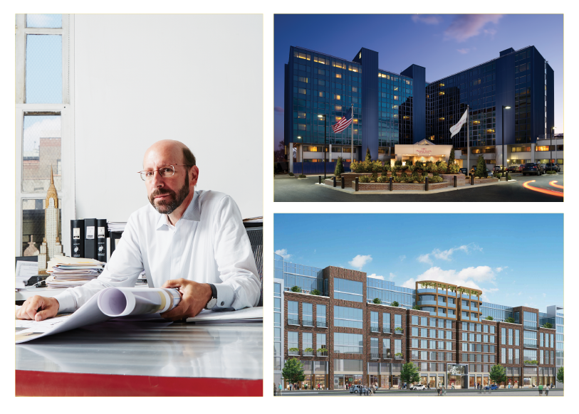 GOOD GENES: Kaufman, in his offices, reskinned the façade of the Crowne Plaza JFK, top, and designed 211 McGuinness Boulevard in Greenpoint, Brooklyn.
