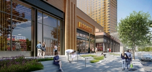 A rendering of the retail at 626 Sheepshead Bay Road (Rendering: Cammeby's International).