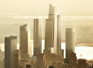 A rendering of the Hudson Yards buildings.