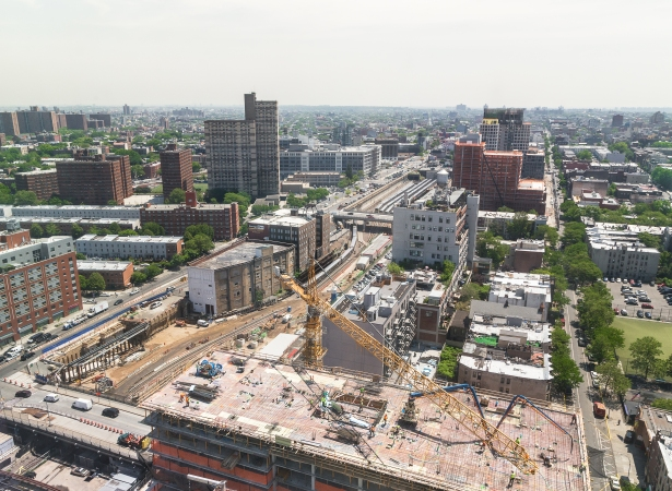 View of Pacific Park project in Brooklyn from 461 Dean St, Brooklyn. Photographed on 26 May 2016. Photo: Kaitlyn Flannagan for Observer.