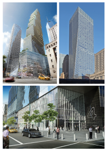 2 WTC (top left), 7 WTC (top right) and 4 WTC.