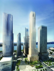 35 Hudson Yards, center, will house a 223-key Equinox hotel and a 60,000-square-foot Equinox club. Rendering: Related Companies and Oxford Properties Group.