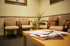 A doctor's waiting room.