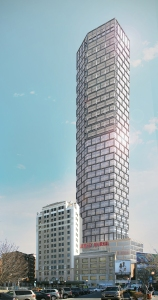 A rendering for 30 Journal Square, which Morris has designed for Kushner Companies. Photo: Morris Adjmi Architects.
