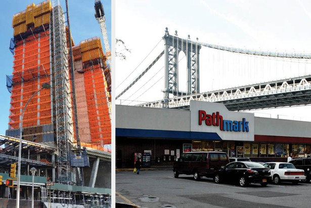 TIMES THEY ARE A CHANGIN': Extell Development Company is thriving as it constructs a new condominium, left, at the site of a former Pathmark at 227 Cherry Street, right.