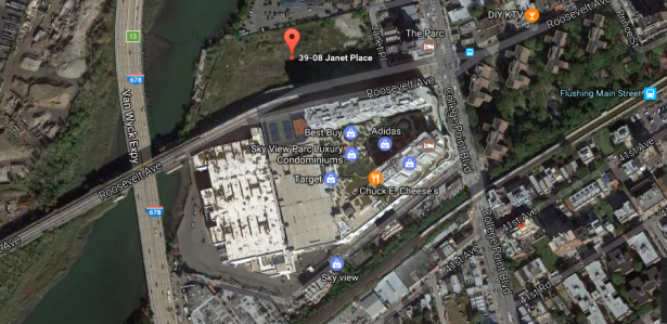 An aerial view of the development parcel at 39-08 Janet Place. Courtesy: Google Maps.