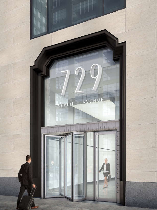 A rendering of the entrance to 729 Seventh Avenue. Courtesy: Himmel + Meringoff.
