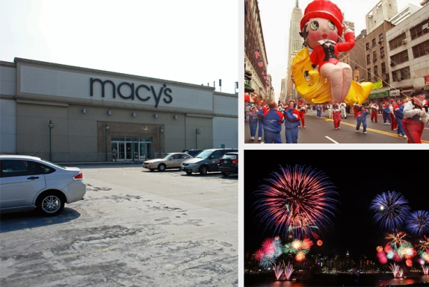 FIRE SALE: Despite the national exposure that Macy's Inc. has garnered from the famous Macy's Thanksgiving Day Parade (top right) and the Macy's Fourth of July Fireworks show (bottom right), either on the Hudson River or the East River, the brand has been suffering and will shutter 100 stores. That includes the 158,000-square-foot Macy's in Douglaston, Queens (left).