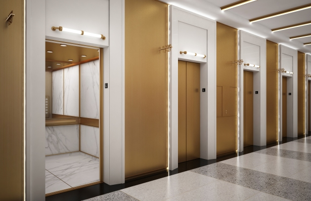 New elevators will be added throughout the building and a brass feature will be installed to give the floors a gold and marble-like look.Photo: Kaufman Organization.