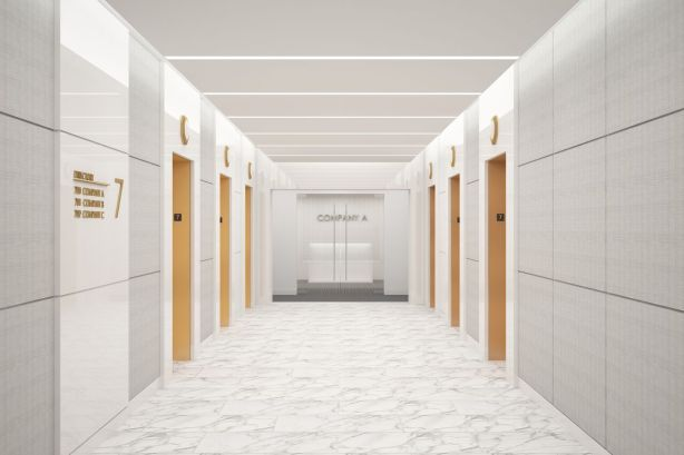 Kaufman plans to insert new LED lights and white floors and walls to brighten up the common areas in the building. Photo: Kaufman Organization.