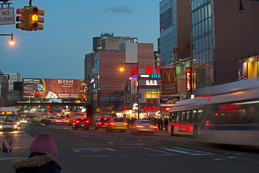 Flushing's Main Street at night.