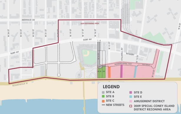 A map of Coney Island that indicates the five lots where the city hopes to add more attractions. The lots are color coded in green, orange, purple, blue and gray. Map: NYCEDC