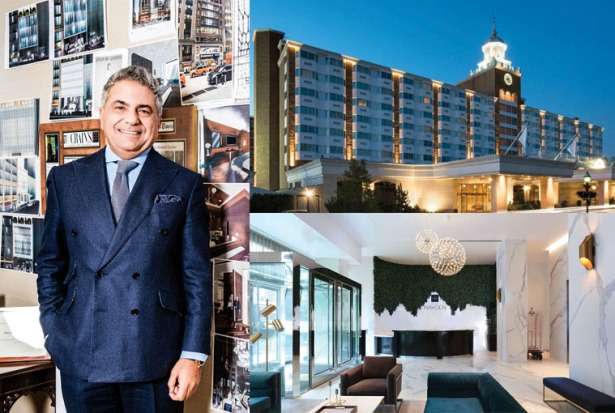 MOOD AWAKENING: Morris Moinian (left) with his mood wall, through which he says he seeks inspiration for his various projects. Those include Hotel Hayden (the lobby is pictured immediately above), which is slated to open next month; and The Garden City Hotel on Long Island (top), which Moinian scooped up in June 2012.