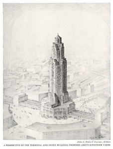 In the late 1920s and early 1930s, the Regional Plan Association floated constructing a tower at the yards.