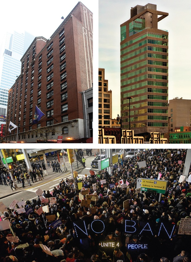 HEARTBREAK HOTEL: Gallivant Times Square, top left, is in foreclosure and St. James Hotel, top right, is up for sale. Meanwhile, protestors came out against the travel ban at John F. Kennedy International Airport.
