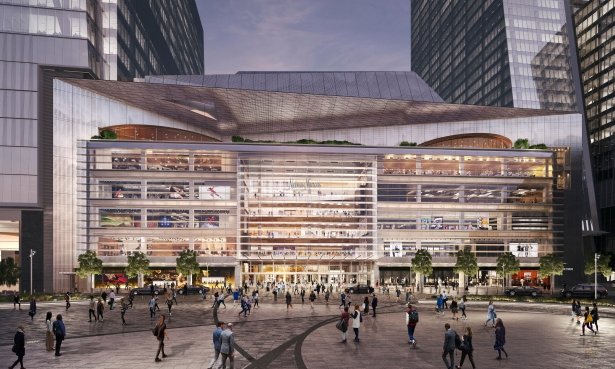 plaza view with restaurant courtesy of related oxford London Based Restaurant Group Opening First NYC Eatery at Hudson Yards