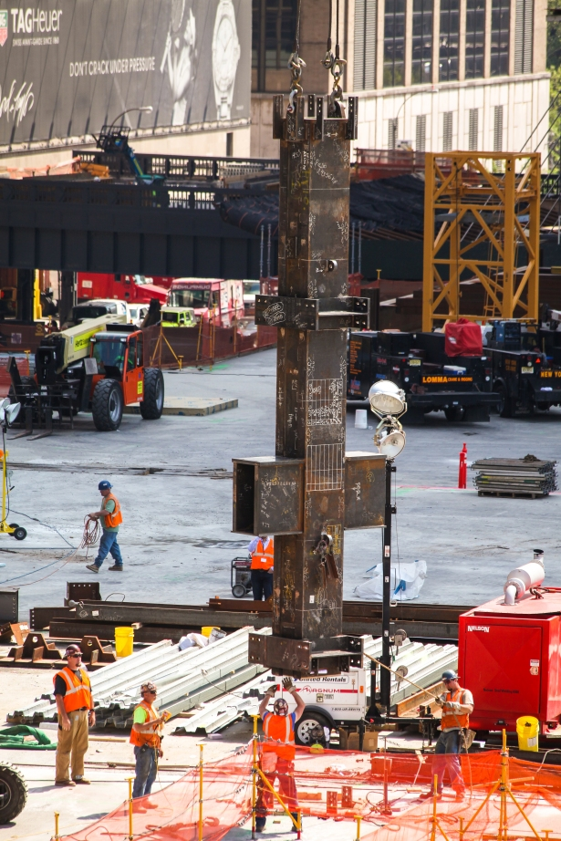 photo 4 first piece of steel for vertical construction is placed at hudson yards courtesy of joe woolhead NYC Policymakers and Advocates Review Construction Safety Requirements