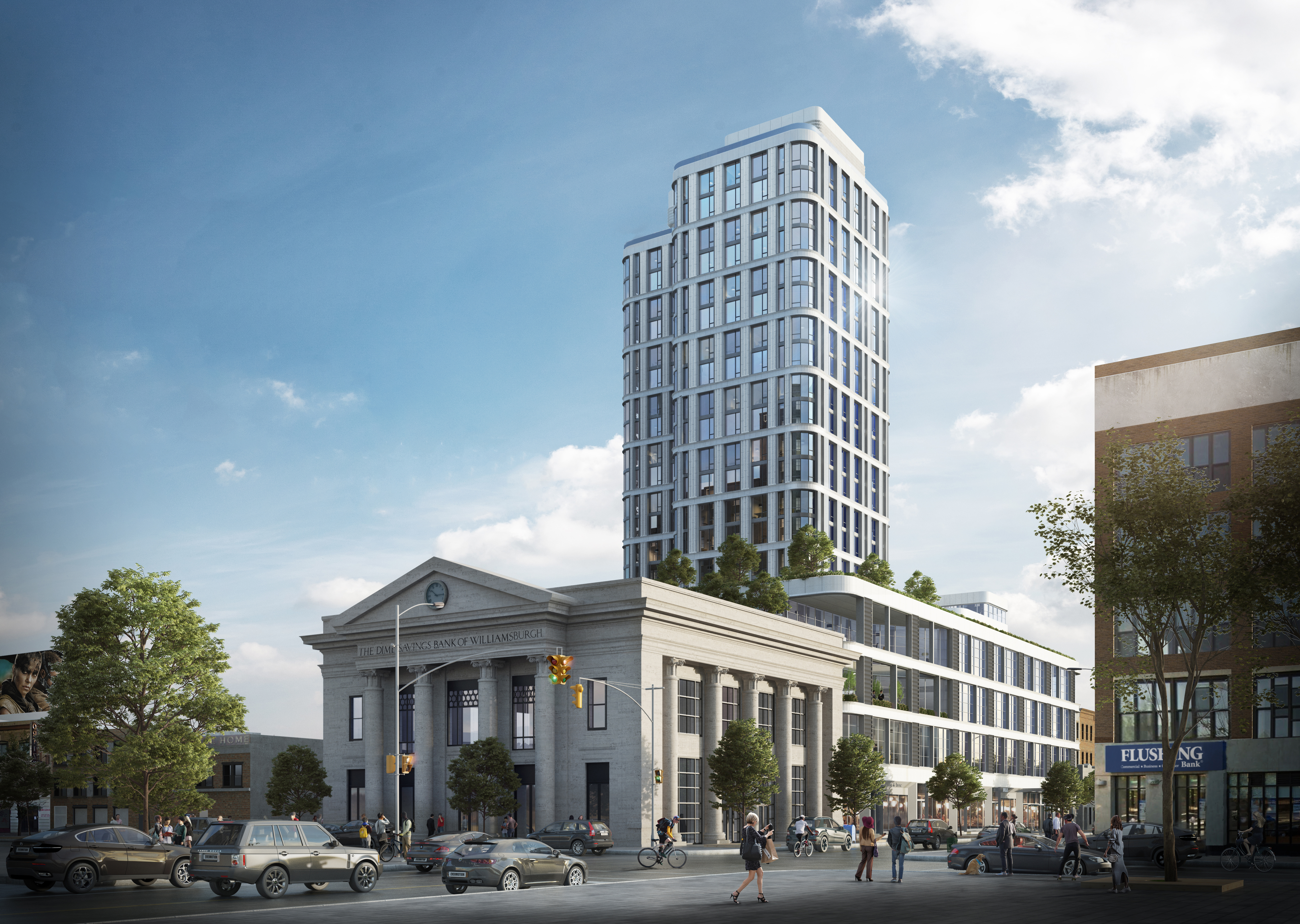 The planned 22-story Dime next to the old Dime Savings Bank of Williamsburgh. Rendering: Fogarty Finger Architecture
