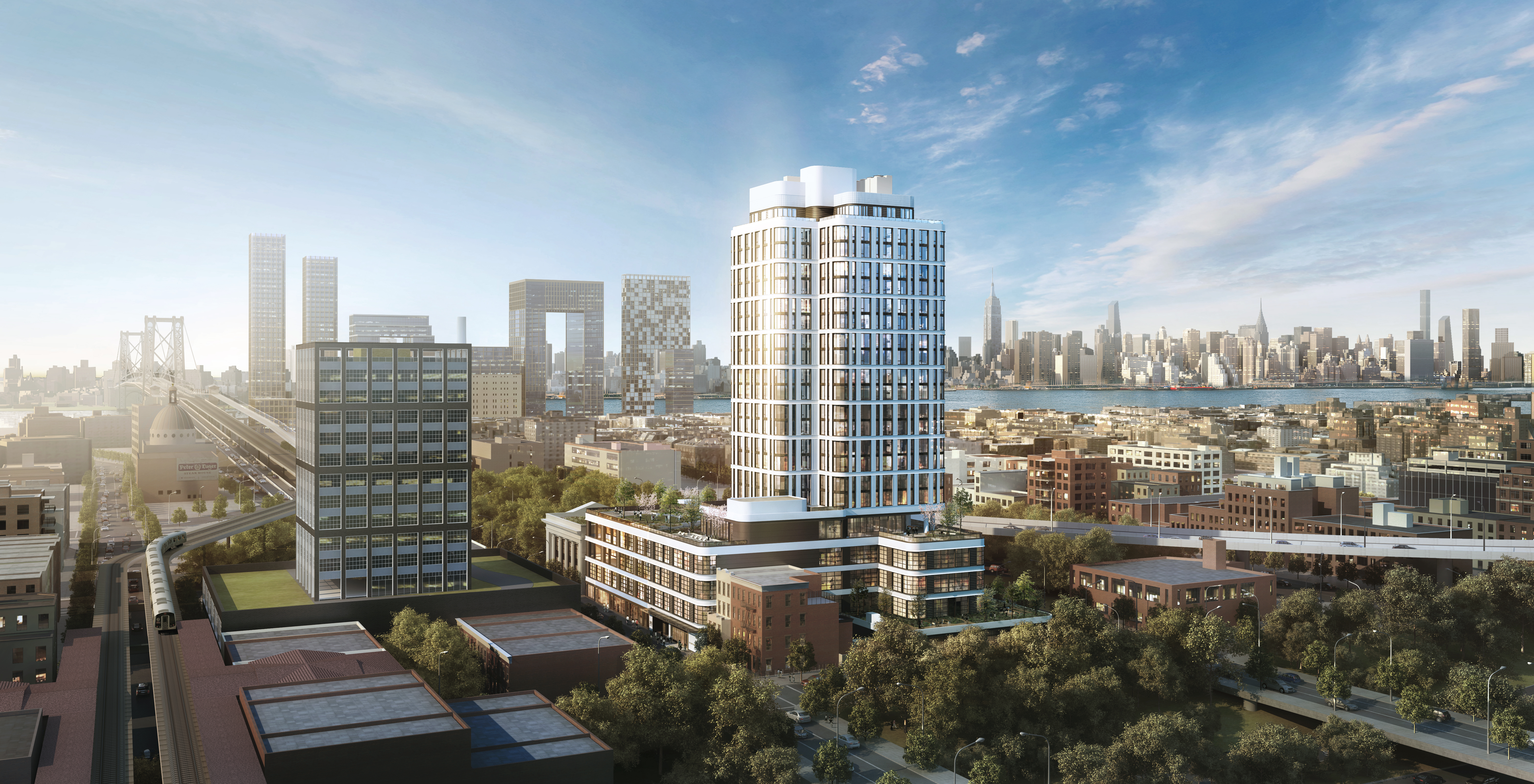 A view of the Dime facing Midtown and the under-construction Domino Sugar Factory development. Rendering: Fogarty Finger Architecture