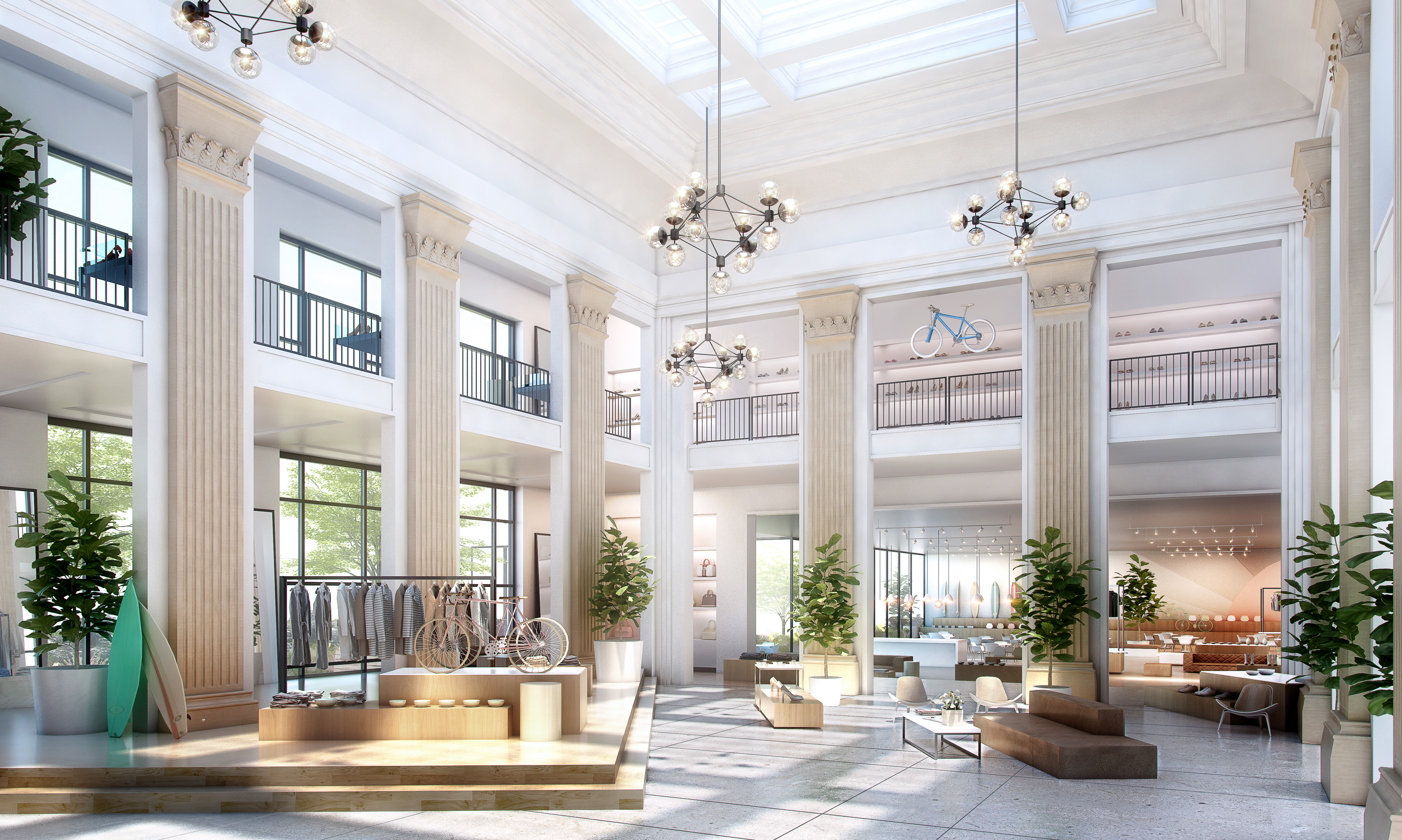 The renovated Dime Savings bank building as a retail space. Rendering: Fogarty Finger Architecture