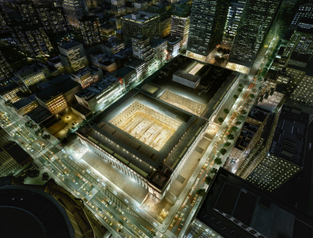 An overhead view of Moynihan Train Hall. Rendering: SOM