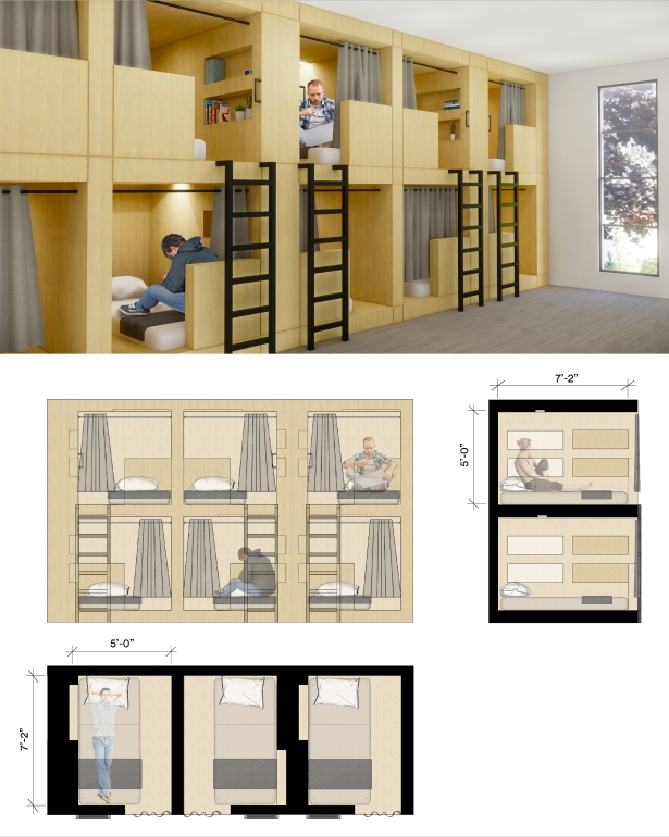 re habit bed pods with section and plan view Thinking Inside the Big Box—Innovative Concepts to Combat the Homeless Crisis