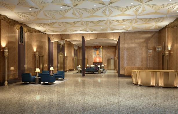 walker house lobby rendering Ralph Walker Gets a Third Makeover at Newarks Historic Telecom Building