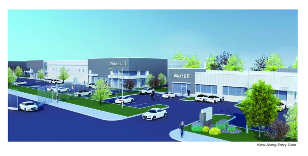 rendering of the front of a canna hub campus credite28094canna hub  Seed Money: Real Estate as a Backdoor to Cannabis Investing ... At Your Own Risk!