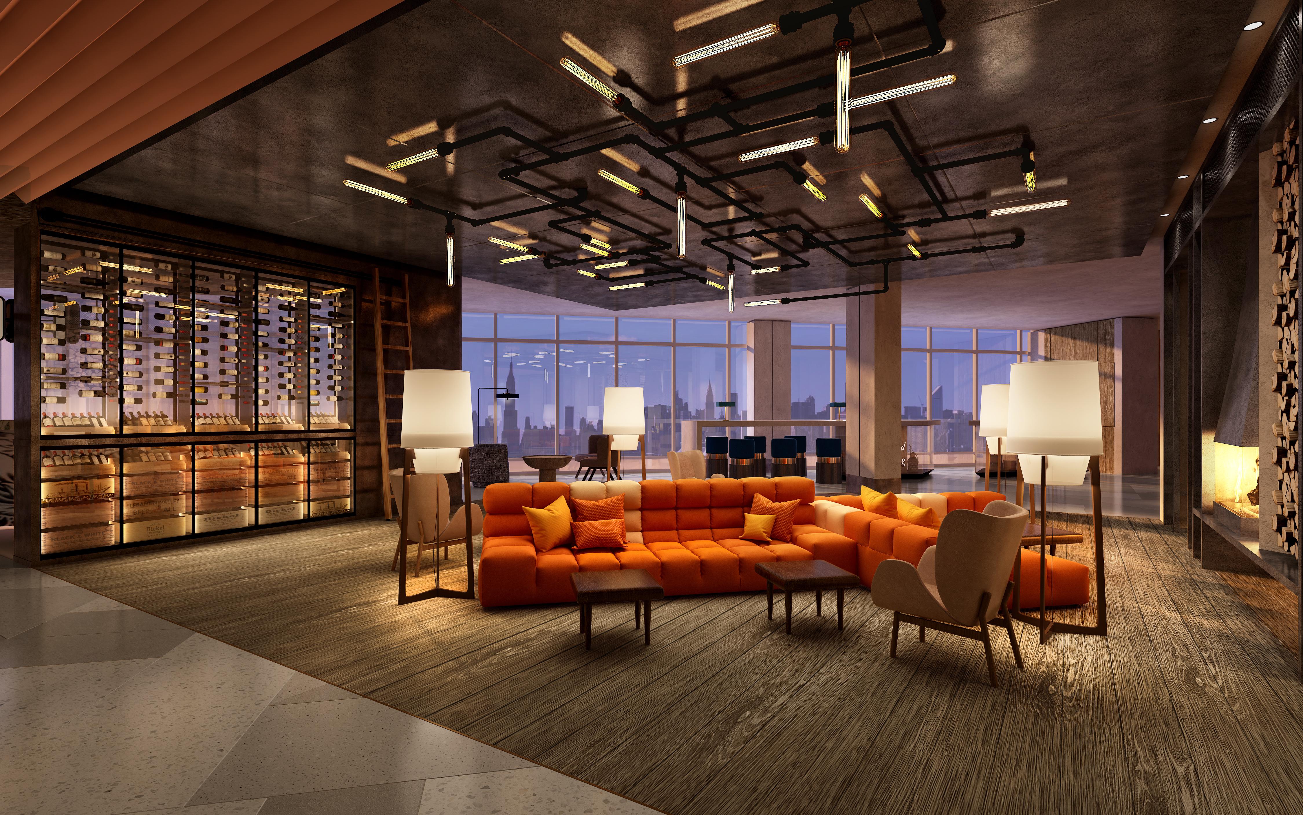 top floor lobby arrive credit tangram SCG America and F&T Tap Renaissance Brand for Tangram Hotel in Flushing